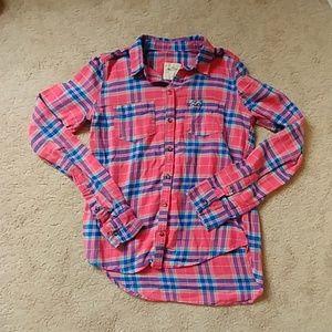 Girls pink plaid flannel Hollister button shirt s